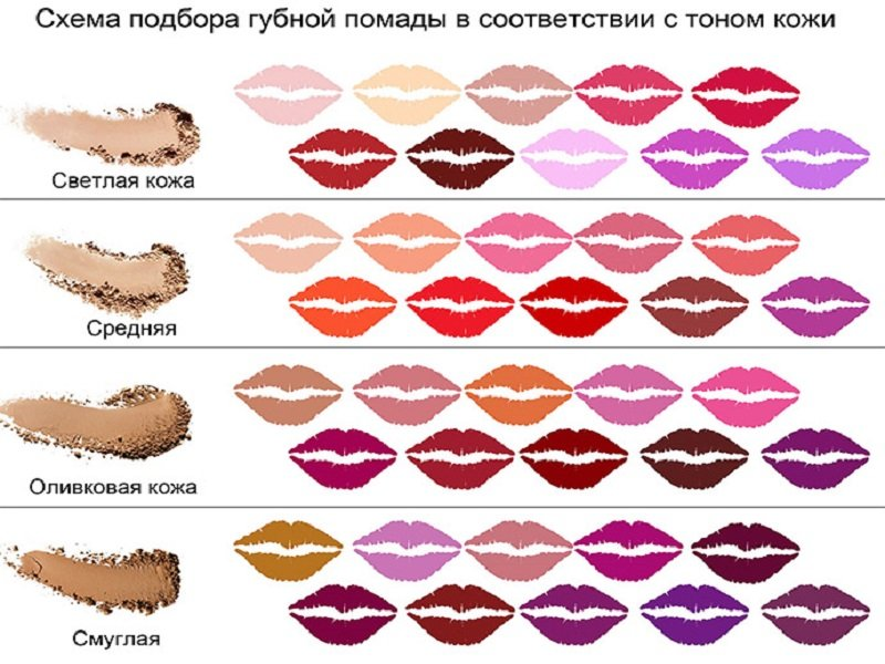 Схема подбора цвет помады для губ в соответствии с тоном кожи